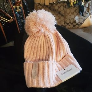 Calvin Klein Big Pom Pom Knit Winter Hat